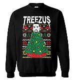 Haase Unlimited Treezus - Kanye Tree Ugly Christmas Unisex Crewneck Sweatshirt (Black, Large)