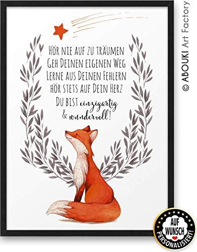 FUCHS Hör nie auf zu träumen ABOUKI Kunstdruck - ungerahmt - auf Wunsch personalisierte Geschenk-Idee Taufe Geburt Geburtstag Weihnachten für Kinder Junge Mädchen Baby