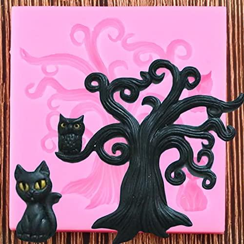 WQSD 3D Baum Eule Silikonform Cat Fudge Schokoladenform Kuchenabdeckung Matte DIY Kuchen Dekorationswerkzeug Candy Polymer Clay Zahnpasta Form