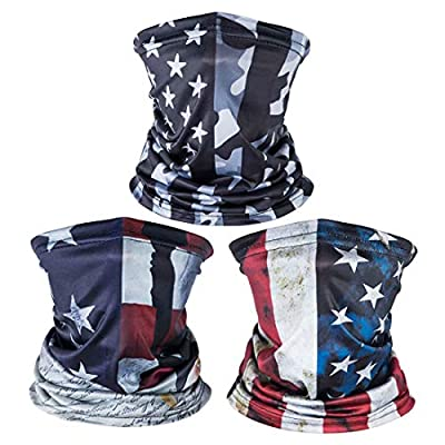 3 Pack American US Flag Face Bandana, Sun UV Dust Protection Reusable Washable Half Mask Scarf Headwear Neck Gaiter, Fishing Hiking Cycling Running Cloth Balaclava for Men Women-B