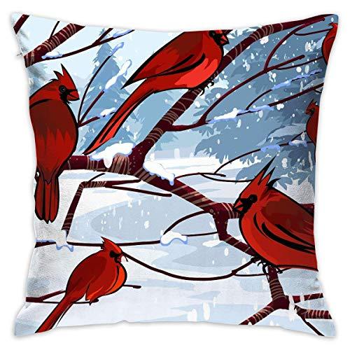 lsrIYzy Cardinal Birds Taie d'oreiller pour l'hiver avec Fermeture Éclair Housse d'oreiller Motif Oiseaux