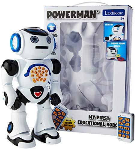 LEXiBOOK ROB50EN_09 Powerman Remote Control Walking Talking Toy Robot, Educational Robot, Dances, Sings, Reads Stories, Math Quiz, Shooting Discs, & Voice Mimicking, Black, White