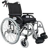 FabaCare Premium Rollstuhl mit Trommelbremsen Dolphin 271444, Aluminiumrahmen, Leichtgewichtrollstuhl, Alurollstuhl, Sitzbreite 44 cm, bis 150 kg, mit FabaCare Easy To Clean Spezialversiegelung -