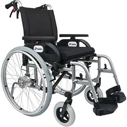 FabaCare Premium Rollstuhl mit Trommelbremsen Dolphin 271444, Aluminiumrahmen, Leichtgewichtrollstuhl, Alurollstuhl, Sitzbreite 44 cm, bis 150 kg, mit FabaCare Easy To Clean Spezialversiegelung