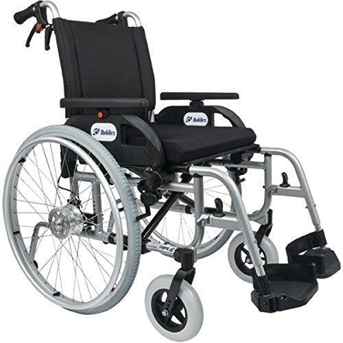 FabaCare Premium Rollstuhl mit Trommelbremsen, Aluminium, Leichtgewichtrollstuhl, Alurollstuhl, bis 150 kg, FabaCare Easy to Clean Spezialversiegelung, Sitzbreite 57 cm