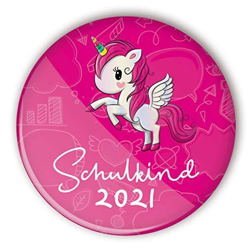 stylebutton® Button Anstecker Schulkinder Geschenk zur Schuleinführung | Einschulung 56 mm (#1 Einhorn pink)