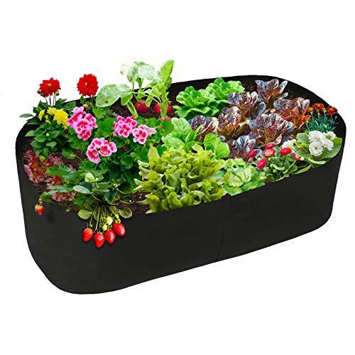 YHNJI Hochbeet, robuste Pflanztasche, rechteckiger Stoff, Hochbeet, Belüftung, Pflanzgefäß, für Outdoor-Pflanzen, Gemüse, Blumen, 15,7 x 3,0 m