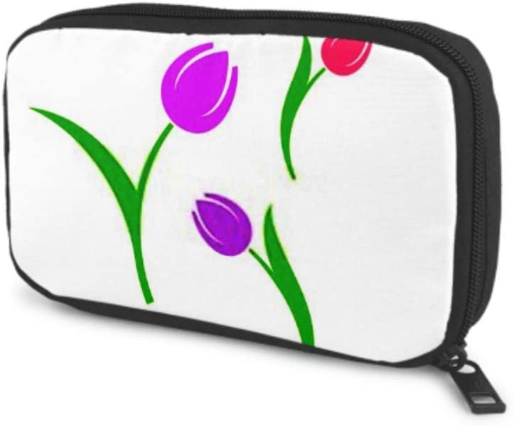 Electronics Accessories Organizer Bag Tulip Spring Flowers Isolated Tulips On Electronics Organizer Cable Organizer Bag Storage Bag of Cases for Cable, Charger, Phone, USB, Sd Card