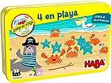 HABA 306045 - 4 en Playa, Juego de Viaje en Lata. Más 5 años