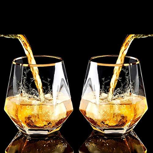 2個/セット ダイアモンドウイスキーグラス,ロックグラス、日本酒 グラス,スコッチウイスキーまたはワイン、トランスペアレント金色の縁のカクテルグラス、多機能ジュースカップウォーターカップ300ml (2個 トランスペアレント)