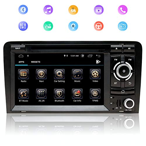 7 Zoll 2Din Autoradio Android 9.0 Quad-Core-Prozessor Für Audi A3,Mit Touch Screen GPS Navigation RAM2GBROM32GB WIFI Internet DVD CD Bluetooth Musik Player FM AM DSP RDS USB SD CANBUS Lenkradsteuerung