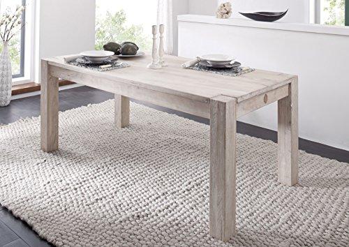 MASSIVMOEBEL24.DE massiv Akazie Holz Möbel Esstisch 220x100 Massivmöbel Holz Möbel #107 getüncht
