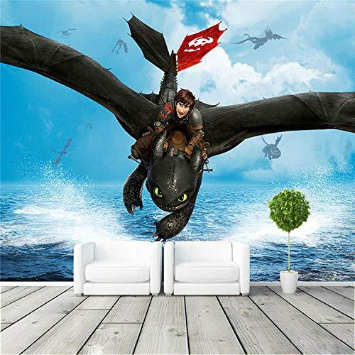 MGQSS 3D Fondo de pantalla Autoadhesivo Mural Cómo entrenar a tu dragón Póster Antecedentes Foto Fondo de pantalla Arte Inicio Decoracion Niño Caricatura Habitacion Niño Chica Dormi (W)250x(H)175cm