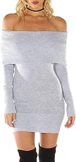 Women's Off Shoulder Long Sleeve Bodycon Mini Knit Sweater Dress