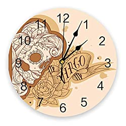 12 Inch Silent Round Wooden Wall Clock Skull Girl Virgo Mexico Symbol Wall Clock, Non Ticking Battery Operated Quartz Home Decor Wall Clocks for Living Room/Kitchen/Office