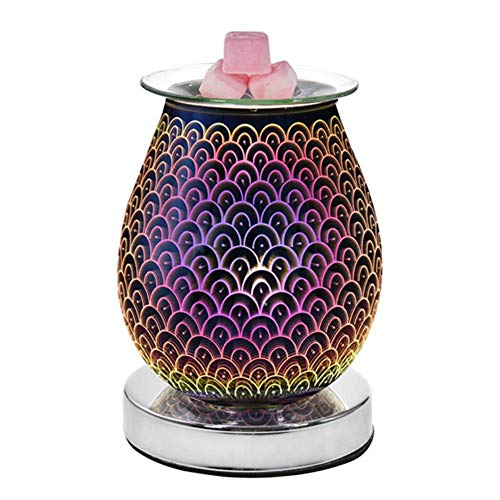 Househome - Difusor ultrasónico de aceites esenciales de cristal 3D, lámpara decorativa con aroma de lámpara de noche perfumada, difusor de aromaterapia