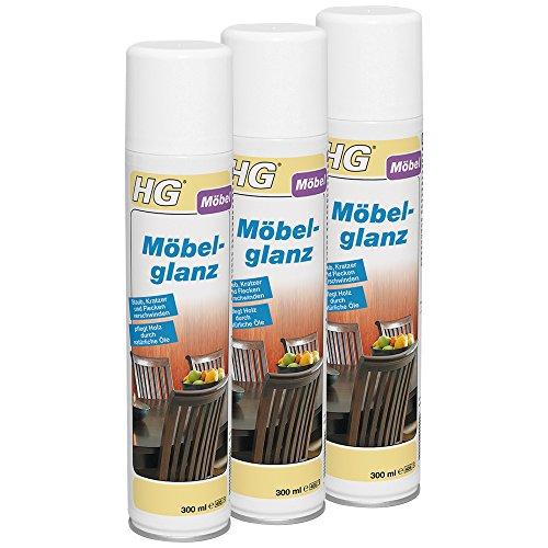 HG Möbelglanz 3er Pack (3x 300 ml) – Pflegender Möbelglanz - Reinigt und Schützt Holzmöbel - Schnell und Effektiv