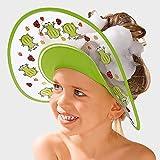 Badabulle Shampoo-Schutzschild Frosch - wasserdichte Badekappe für Kleinkinder - schützt Kinder vor nassen Augen - größenverstellbar - grün