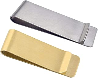 Stainless Steel Money Clip, Classic Cash Holder Money Clip Credit Card Holder(Silver & Gold)