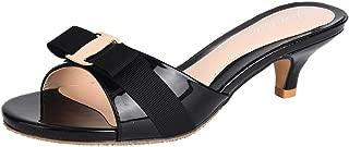 Jiu du Women's Slingback Slippers Cute Bowknot Slip On Open Toe Low Heels Ladies Sandals