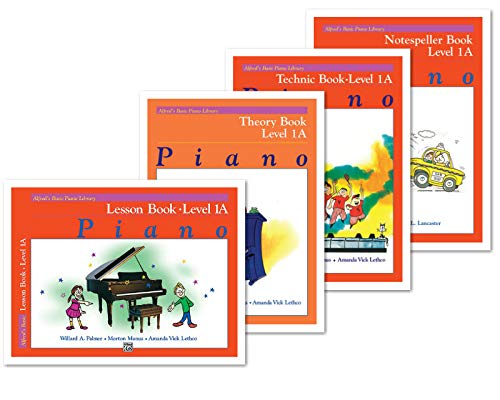 Alfred's Basic Piano Library: Level 1A Books Set (4 Books) - Lesson 1A, Theory 1A, Technic 1A, Notespeller 1A