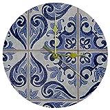 Biaoya Vintage Piastrella di Ceramica Blu Dimensione tridimensionale Meccanismo Muto Digitale Europeo Originalità Moda Classico Roma Will Orologio Da Parete