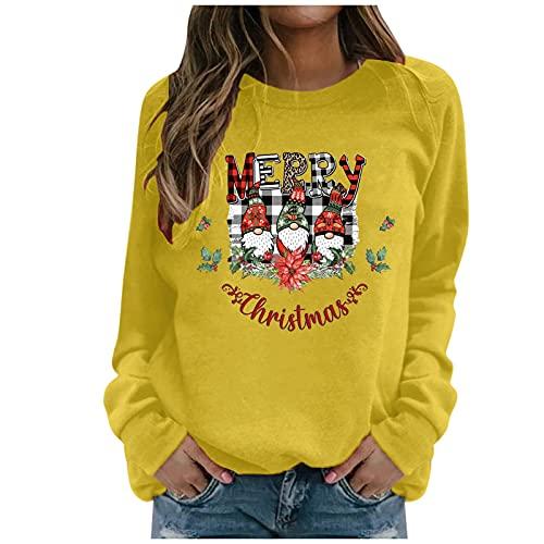Honestyi Sudaderas Mujer Sin Capucha Tallas Grandes, Navidad Camisetas De Manga Larga con Estampado Enano Letras Sweatshirt Casual De Cuello Redondo Pullover Sueltos Ropa Harajuku Mujer