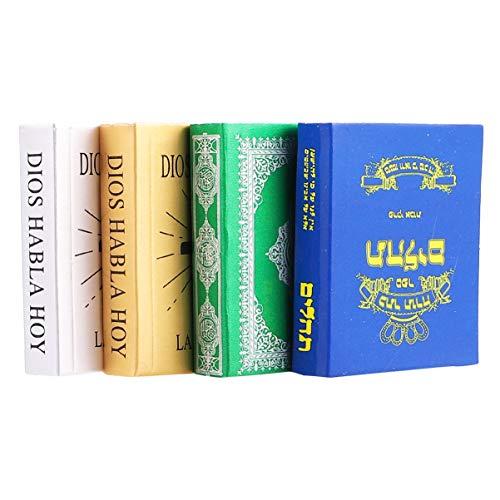 Healifty Miniature per Casa Delle Bambole 4 Pezzi Mini Libri in Miniatura Arredamento Camera da Letto Bibbia per Oggetti di Scena Foto Casa Delle Bamb