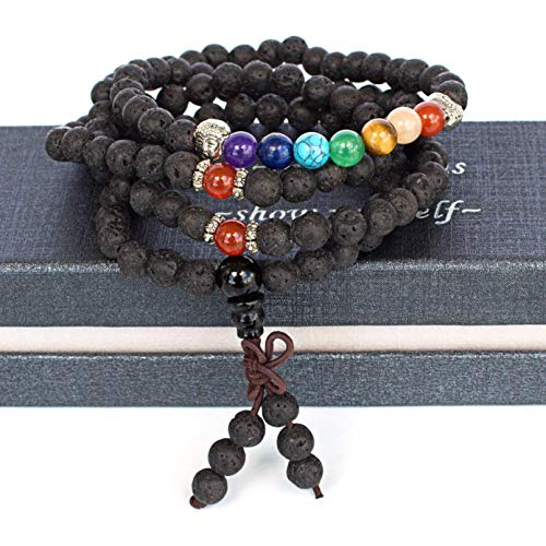 Hand Tied Meditation Mala 117 Bead Lava Rock Essential Oil Diffuser 7 Chakra Healing Necklace Bracelet Gemstone Buddha Health Wellness Unisex 2 in 1 necklace or stretch bracelet Ezina Designs