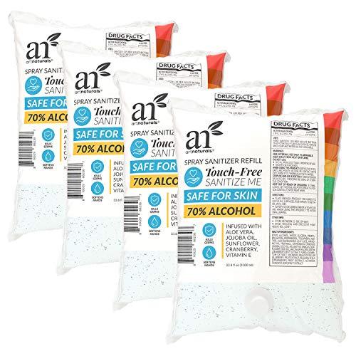 ArtNaturals Hand Sanitizer Refills for Dispenser - (4 Pack x 33.8 Fl Oz / 1000ml) - 70% ALCOHOL - INFUSED W/ALOE VERA, JOJOBA OIL, SUNFLOWER, CRANBERRY & VITAMIN E - MOISTURIZES & SOFTENS HANDS
