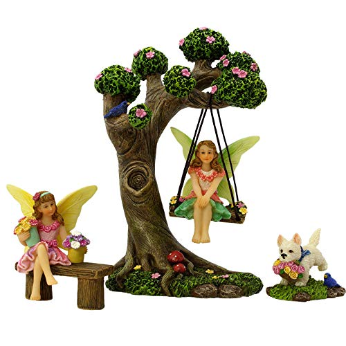 PRETMANNS Fairy Garden Fairies Accessories – Fairy Tree Swing Kit with Fairy Figurines for a...