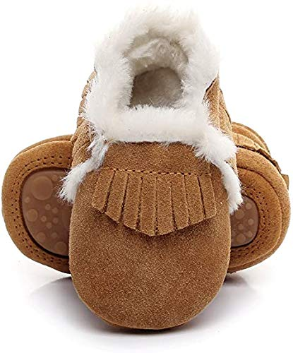 Bebila Baby Moccasins Shoes First Walkers with Fur Fleece Rubber Soles Girls Boys Leather Snow Boots (12-18Months/6 M US Toddler/13cm, Brown-2)