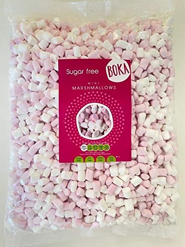 Boka Food - Sugar Free Mini Marshmallows | Vanilla Flavour - Delicious | Great for Baking, as a Desert or Hot Drink Topping | Gluten Free, Lactose Free, Fat Free, Low Calorie (1 Kilo Bag)