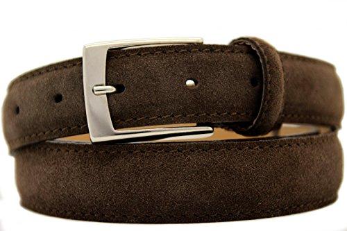 NISAR Italienischer Wildledergürtel Herren Damen Suede Belt Dunkel Braun UniSex Gürtel 3cm Breit (115cm)