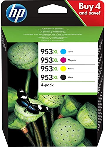 HP 953XL ComboPack 3HZ52AE, Confezione da 4 Cartucce Originali di Inchiostro, Compatibili con Stampanti HP OfficeJet Pro Serie 8000 e OfficeJet Pro 7740 Grandi Formati, Nero, Ciano, Giallo e Magenta