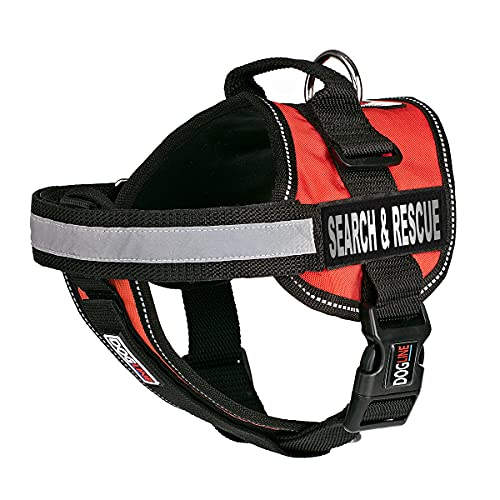 Dogline Unimax Multi-Purpose Vest Harness for Dogs and 2 Removable Search and Rescue Patches, Large, Red