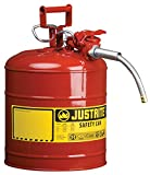 Justrite 7250120 AccuFlow 5 Gallon, 11.75' OD x 17.50' H Galvanized Steel Type II Red Safety Can With 5/8' Flexible Spout