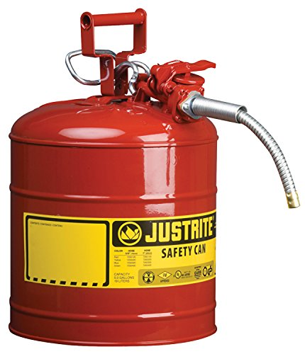 """Justrite 7250120 AccuFlow 5 Gallon, 11.75"""" OD x 17.50"""" H Galvanized Steel Type II Red Safety Can With 5/8"""" Flexible Spout"""