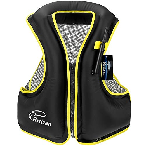 Rrtizan Swim Vest for Adults, Buoyancy Aid Swim Jackets - Portable Inflatable Snorkel Vest for Swimming, Snorkeling, Kayaking, Paddle Boating and Other Low Impact Water Sports Safety(Black, S-M)