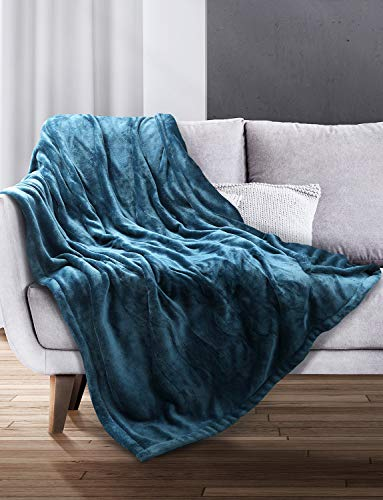 "Sable Electric Blanket Heated Throw, 50"" x 60"" Full Body Size Fast Heating Blankets Flannel, 10 Heating Levels 3 Hours Auto-Off ETL Certified Machine Washable (Blue)"