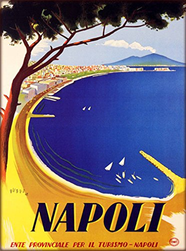 A SLICE IN TIME Napoli Naples Bay of Naples and Mount Vesuvius Italy Italian European Vintage Travel Advertisement Art Poster Print. Measures 10 x 13.5 inches