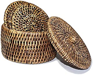 Saffron Trading Company Coasters Round Set of 6 w/Box Knot Lid and Holder - Antique Brown