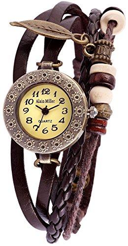 Alain Miller Damen Analog Quarz Uhr mit Leder Armband 1900134-004