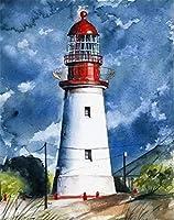 油絵 数字キットによる絵画灯台デジタル絵画油絵 数字キットによる絵画手塗り DIY絵 デジタル油絵塗り絵 40x50cm (フレームレス)