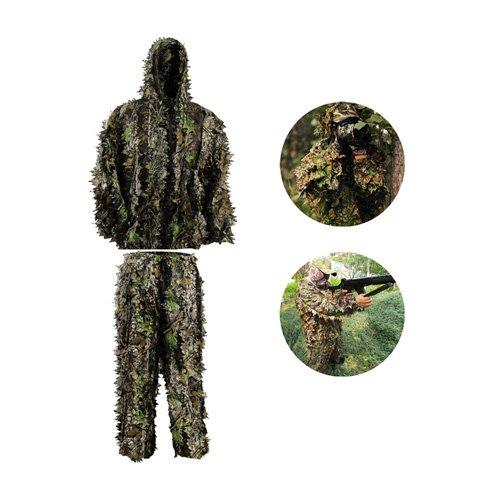 HYFAN Ghillie Trajes 3D Hojas Woodland Camuflaje Ropa Ejército al Aire Libre Ropa Militar Camo para Jungle Hunting, Paintball, Airsoft, Fotografía de Vida Silvestre, Halloween (Hoja Verde)
