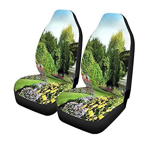 Set met 2 stoelhoezen voor auto's, bloemperken, blauw en sinuesweg in het Engels, universeel, voor tuin, formule 14-17 inch