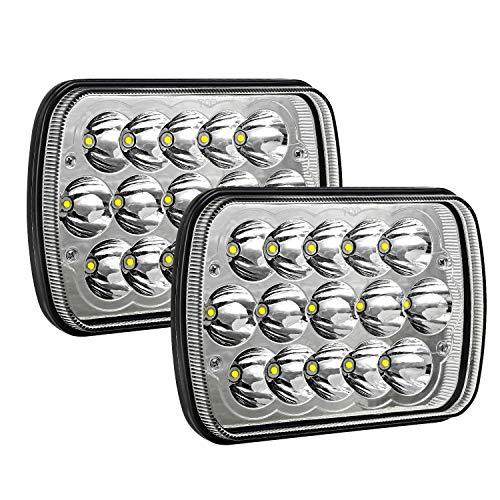 AAIWA H6054 Led Headlights 7x6 5x7 45W Headlamp 2PCS Hi/Low Sealed Beam Rectangle Headlight Replacement for Jeep Wrangler YJ Cherokee XJ Trucks 4X4 Offroad 6054 H5054 H6054LL 69822 6052