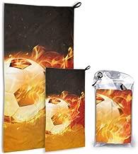 JOCHUAN Bandera de Alemania Unique Fire Soccer 2 Pack Microfibra Mujer Toalla de Playa Toalla de Viaje Set de Playa Secado rápido Lo Mejor para Viajes de Gimnasio Mochilero Yoga Fitnes