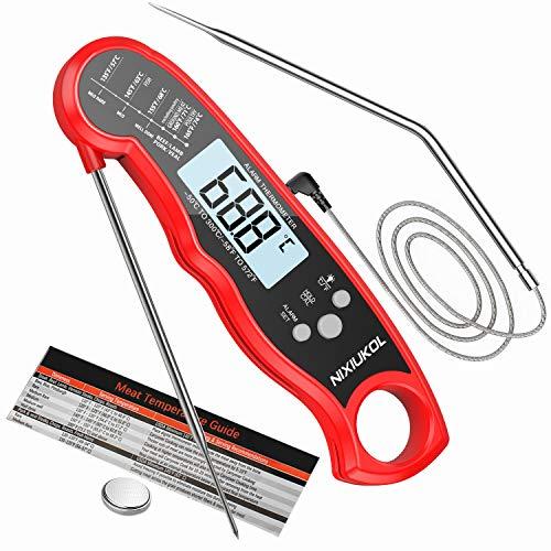 NIXIUKOL Termometro Cocina Digital Lectura Instantánea Alarma Retroiluminación Grande Pantalla LCD Espalda Magnética, Termometro Horno para Barbacoa Alimentos Parrilla Horno Carne Comida, Rojo