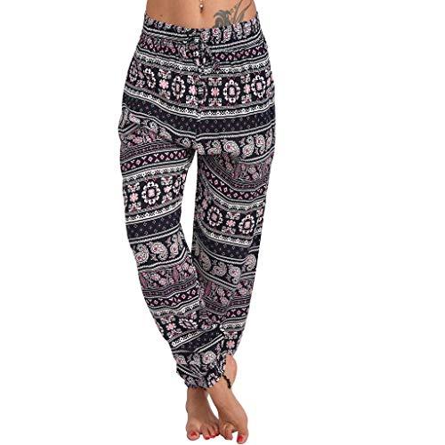 Xniral Damen Yoga Hose Lose Haremhose mit Mittlerer Taille und Breitem Bein Boho-Stil Jogginghose beiläufige lose Hippie Baggy Pluderhose Hosen(Rosa,XL)